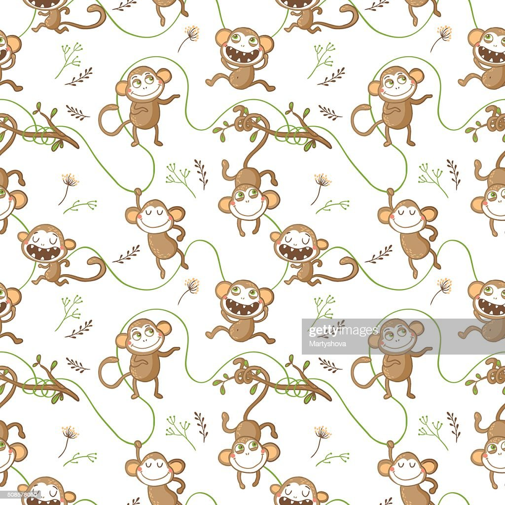 Seamless pattern with funny monkeys. : Vectorkunst