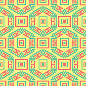 Seamless pattern with geometric green and pink elements. Yellow multi colored background