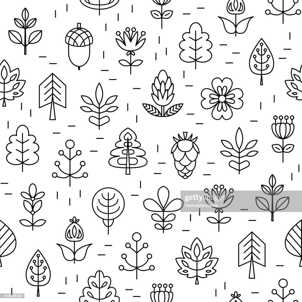 Seamless pattern with Geometrical leaves, trees and flowers. Linear style.
