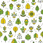 Seamless pattern with Geometrical leaves, trees and flowers