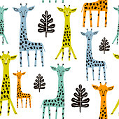 Seamless pattern with giraffe, palm branch and tropical background. Creative jungle childish texture. Great for fabric, textile Vector Illustration