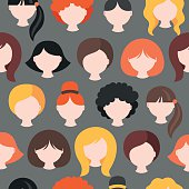 Seamless pattern with girl's heads. Short, medium, long hair