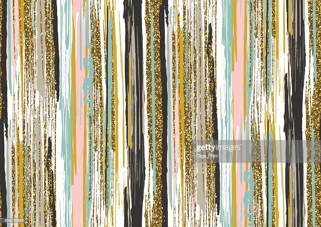 seamless pattern with gold glitter textured brush strokes and stripes