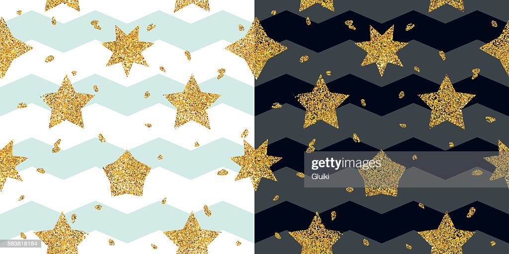 Seamless pattern with Gold set, golden star collection.