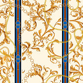 Seamless pattern with golden chains and baroque leaves. Vector patch for scarfs, print, fabric