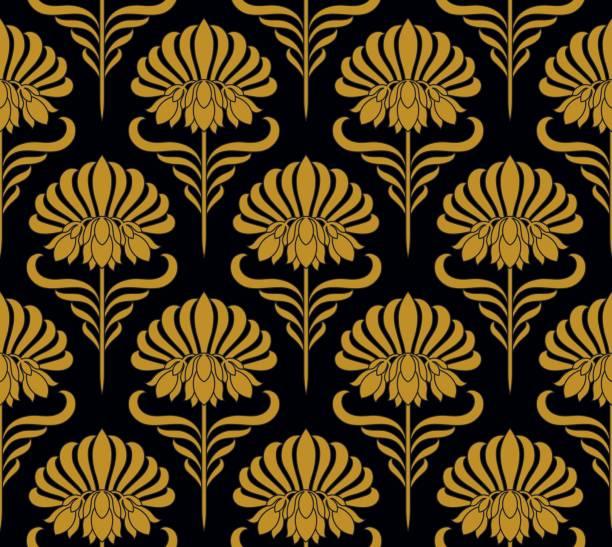 seamless pattern with golden flowers - femininity stock illustrations
