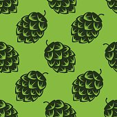 Seamless pattern with green beer hops, colorful vector illustration