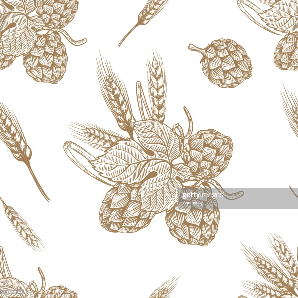 Seamless pattern with hand drawn beer hop. Design element for poster, card, banner, flyer.