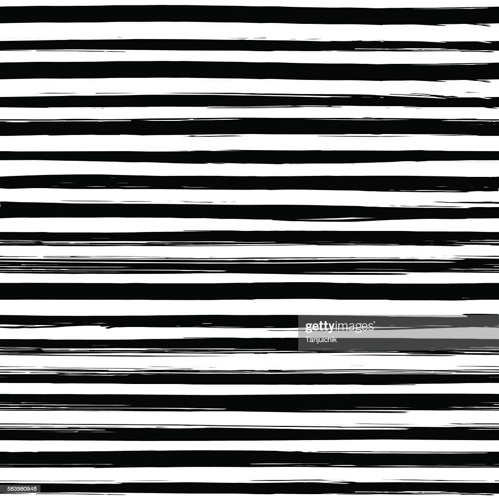 Seamless pattern with hand drawn black and white stripes