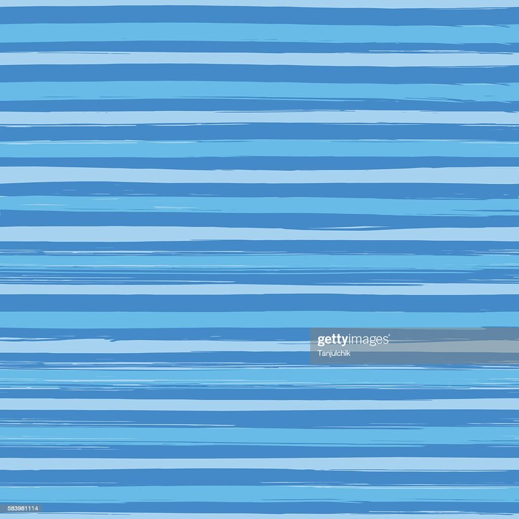 Seamless pattern with hand drawn blue stripes