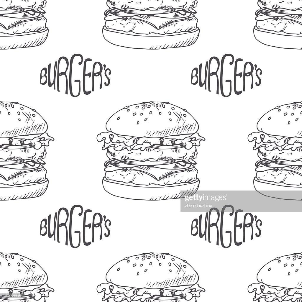 Seamless pattern with hand drawn burger, cheeseburger or hamburger