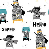 Seamless pattern with hand drawn cat,bear, wolf hero. Creative childish texture in scandinavian style. Great for fabric, textile Vector Illustration