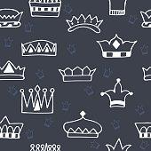 Seamless pattern with hand drawn crowns on dark background
