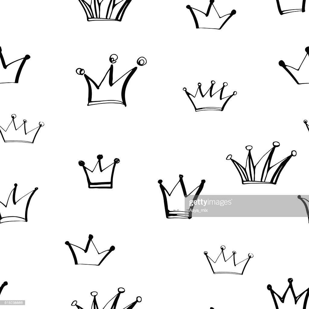 Seamless pattern with hand drawn crowns.