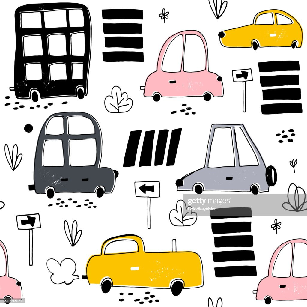 Seamless pattern with hand drawn cute car. Cartoon cars, road sign,zebra crossing vector illustration.Perfect for kids fabric,textile,nursery wallpaper