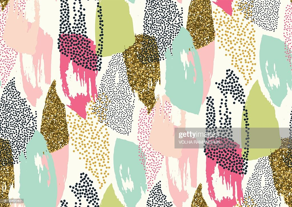 Seamless pattern with hand drawn gold glitter textured brush strokes