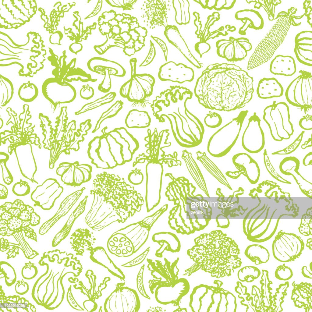 seamless pattern with hand drawn green vegetables.