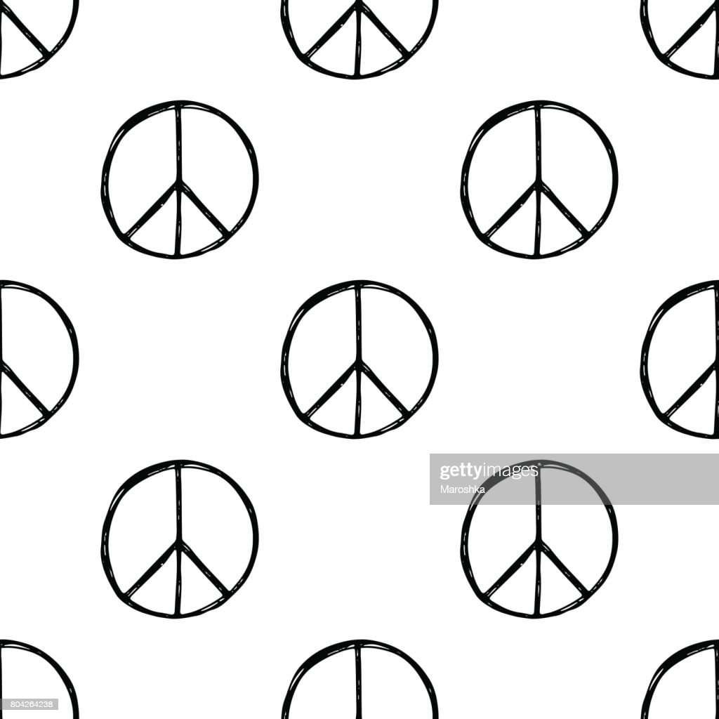 Seamless Pattern With Hand Drawn Hippie Peace Symbol Hippy Pacific