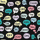 Seamless Pattern with Hand Drawn Internet Acronyms