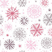 Seamless pattern with hand drawn snowflakes. Vector illustration