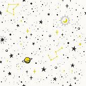 Seamless pattern with hand drawn stars
