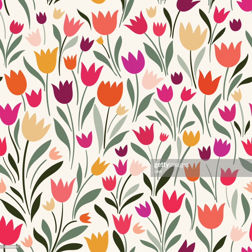 Seamless pattern with hand drawn tulips