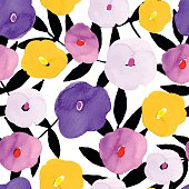Seamless pattern with hand drawn watercolor flowers