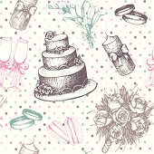 Seamless pattern with  hand drawn wedding elements