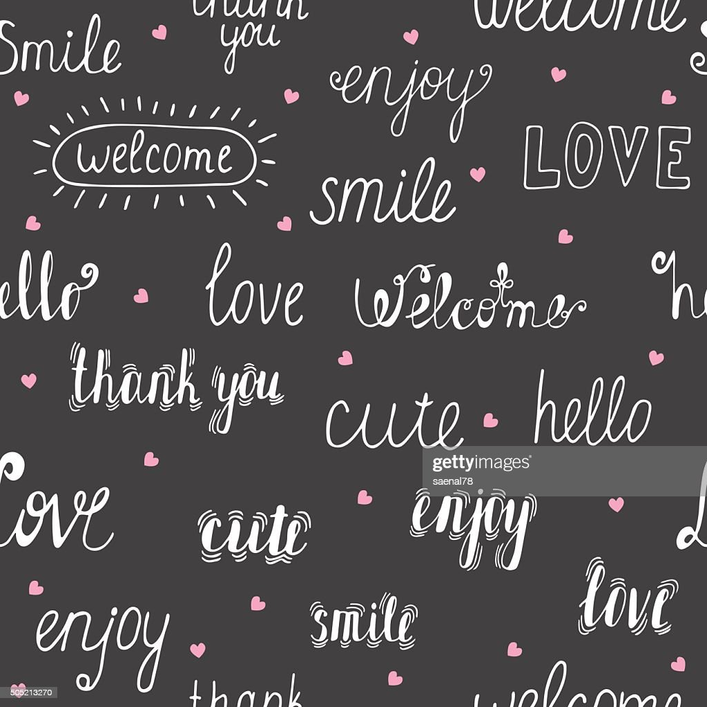 Seamless pattern with hand drawn words and pink hearts