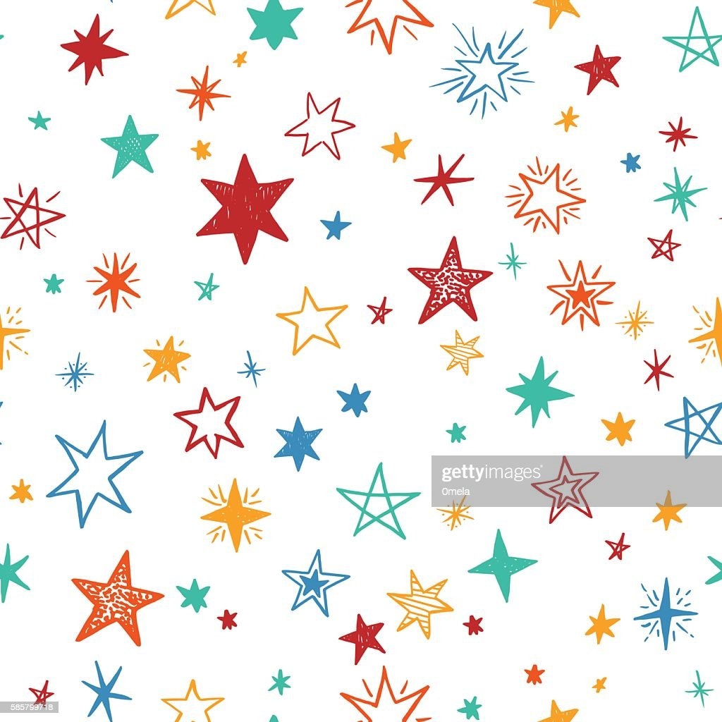 Seamless pattern with handdrawn stars. Bright vector illustration.