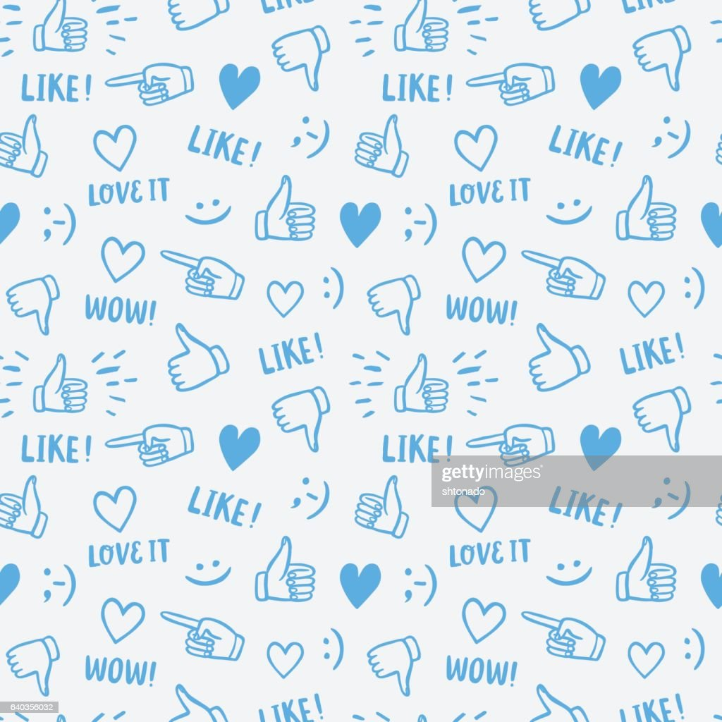 Seamless pattern with hands showing like