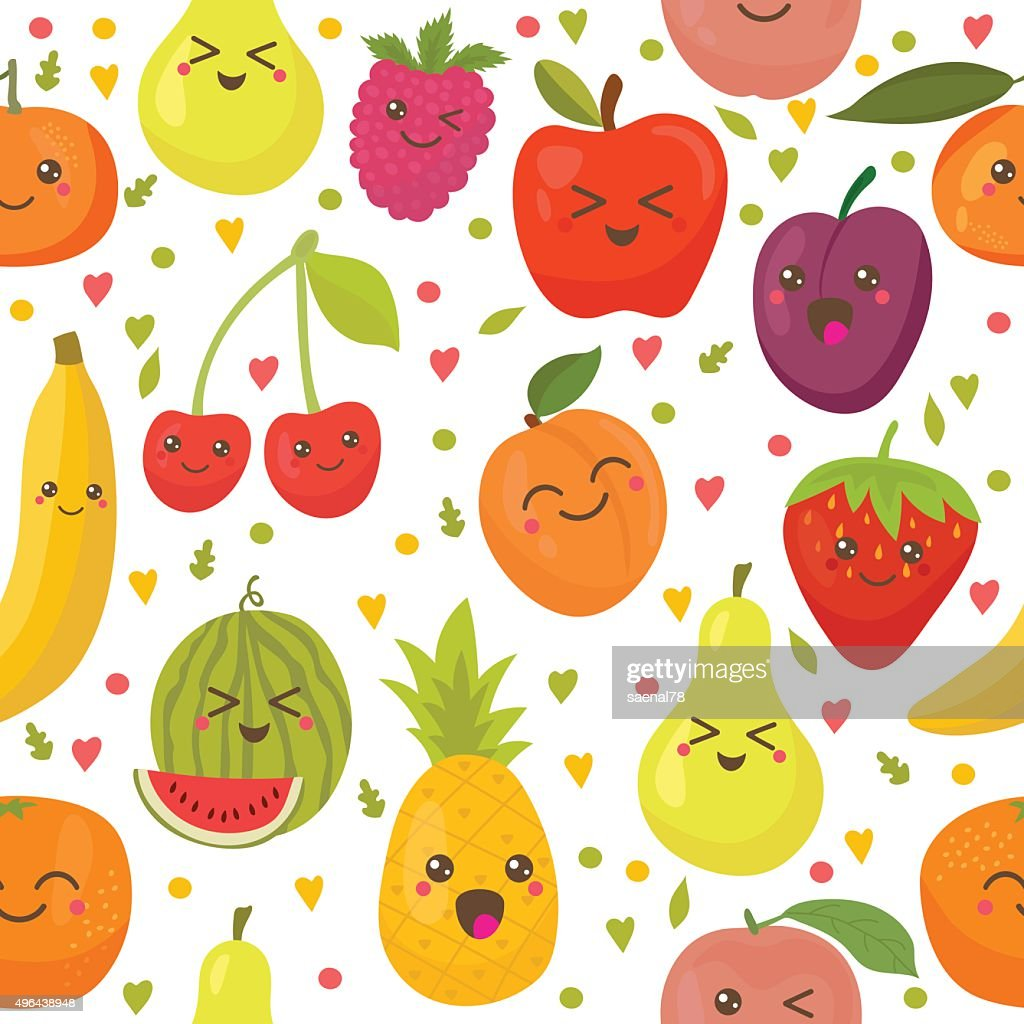 Seamless pattern with happy fruits. Cute background