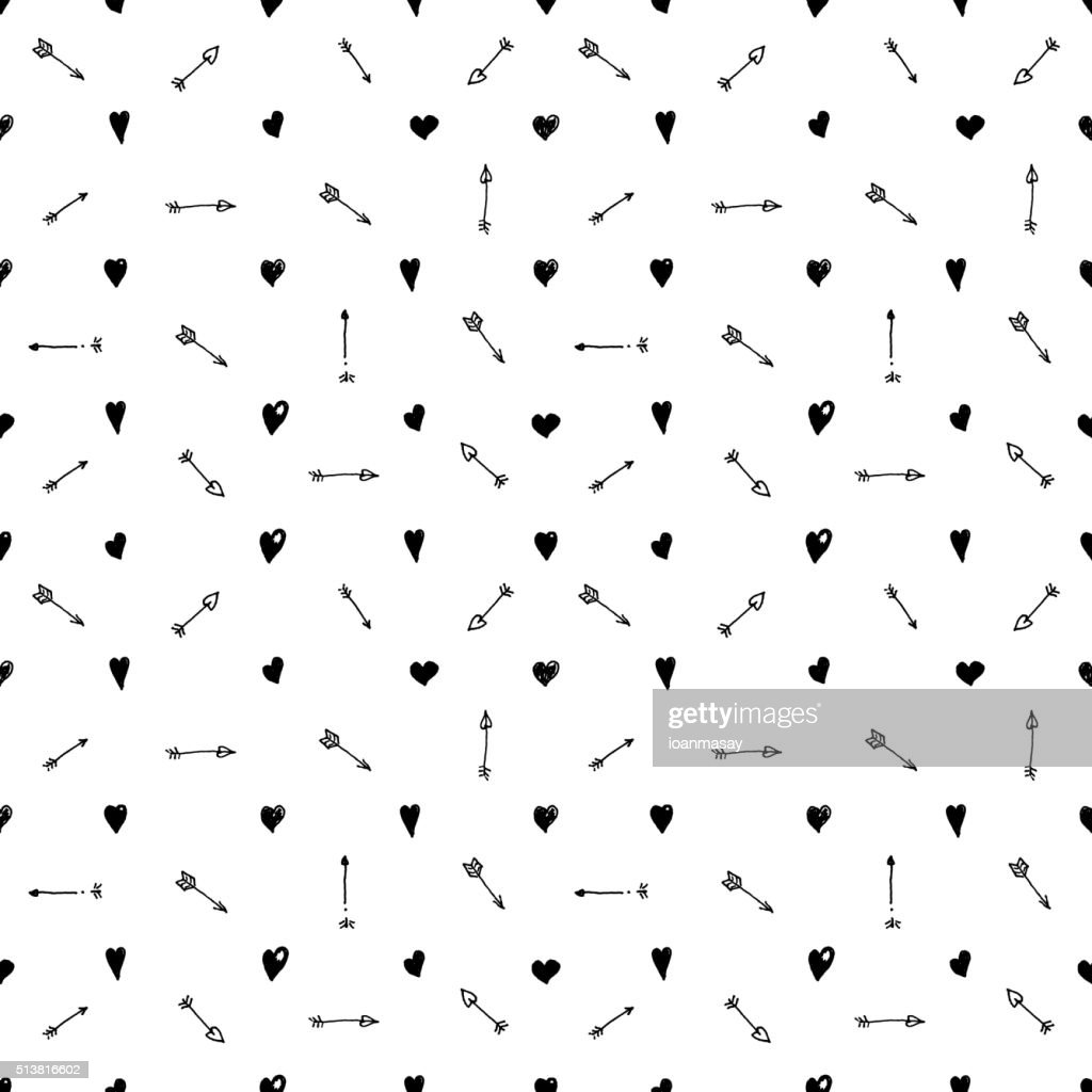 seamless pattern with hearts and arrows.