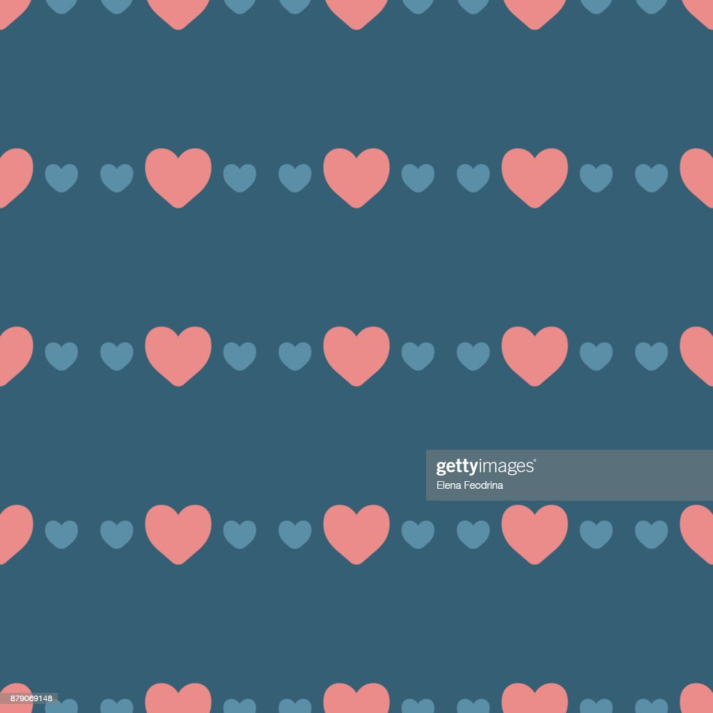 Seamless Pattern With Hearts Cute Background In Trendy Colors Stock