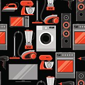 Seamless pattern with home appliances. Household items for sale and shopping advertising background