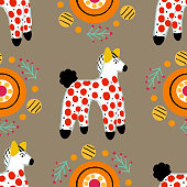 Seamless pattern with horse in Russian Dymkovo style. Vector illustration.