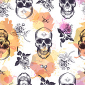 Seamless pattern with human skulls and roses drawn in etching style and translucent orange and pink stains. Creative kitschy backdrop. Vector illustration for wallpaper, wrapping paper, textile print.