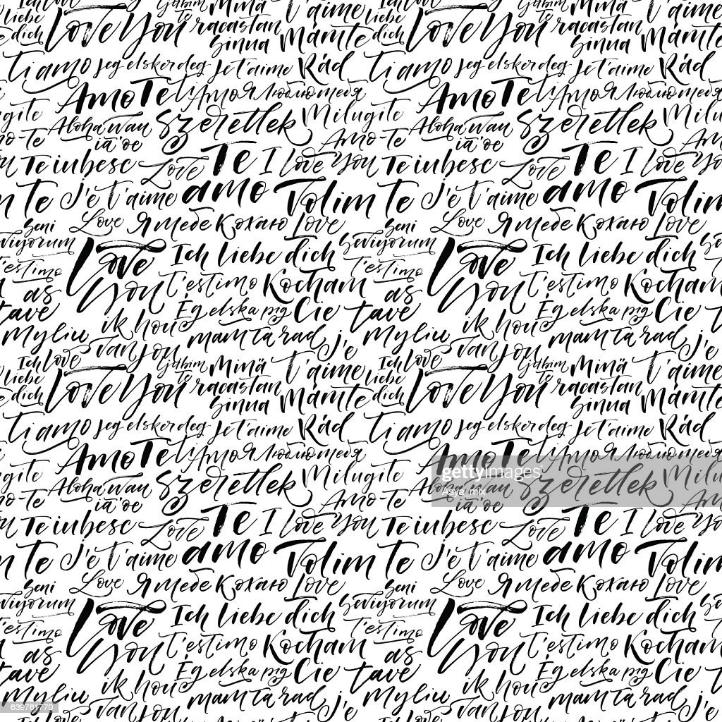 Seamless pattern with I love you in different languages.