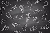 Seamless pattern with ice cream in line graphic on chlalk