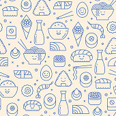 Seamless pattern with icons of Japanese food