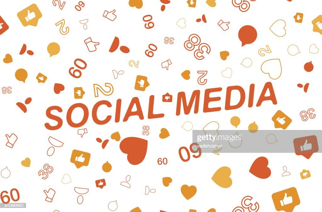 Seamless pattern with Icons of social networks and symbols of notifications. Flat vector illustration EPS 10