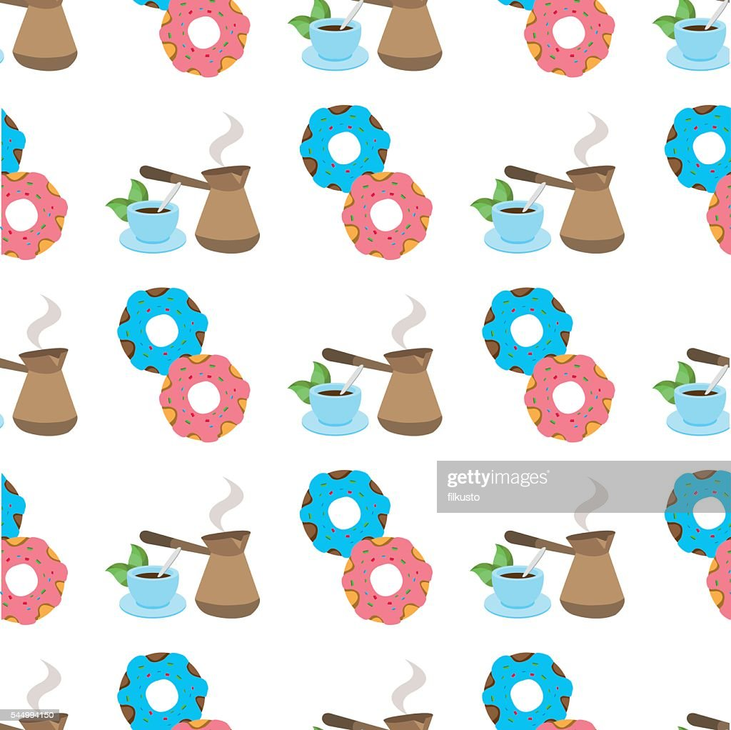 Seamless pattern with illustrationson a coffee theme.