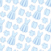 Seamless pattern with images of different types of clothing. A pattern for clothing stores.
