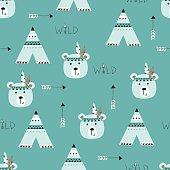 Seamless pattern with indian bears