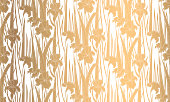 Seamless pattern with irises. Golden texture
