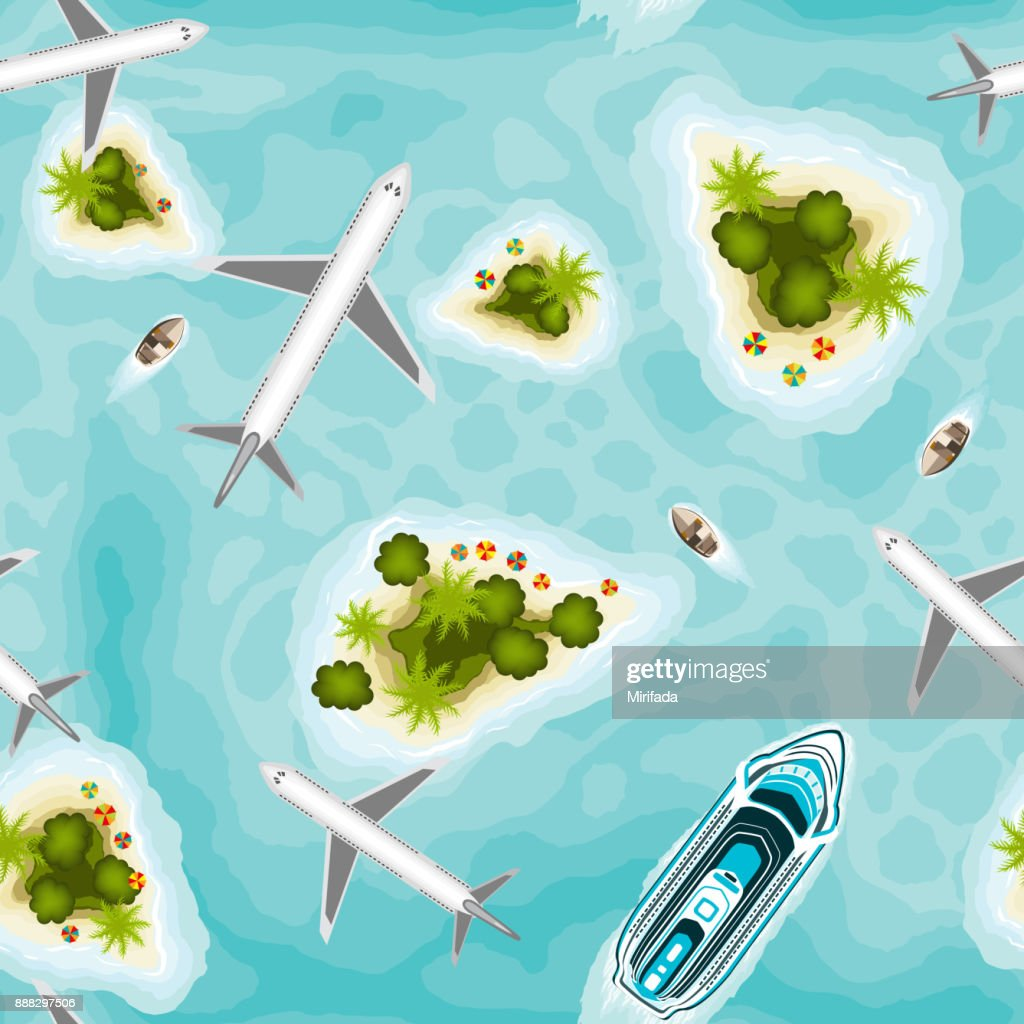 Seamless pattern with islands and planes, top view