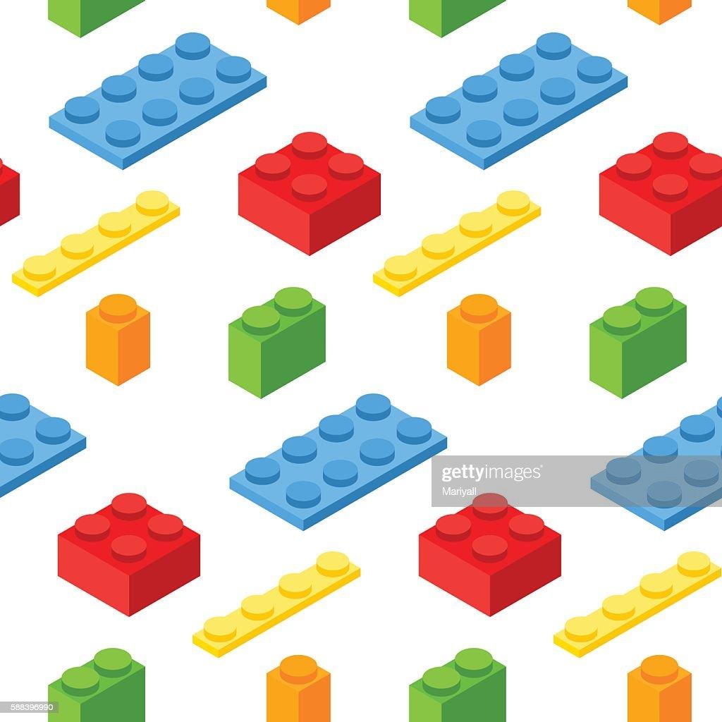 Seamless pattern with isometric plastic blocks. 3d vector symbols.