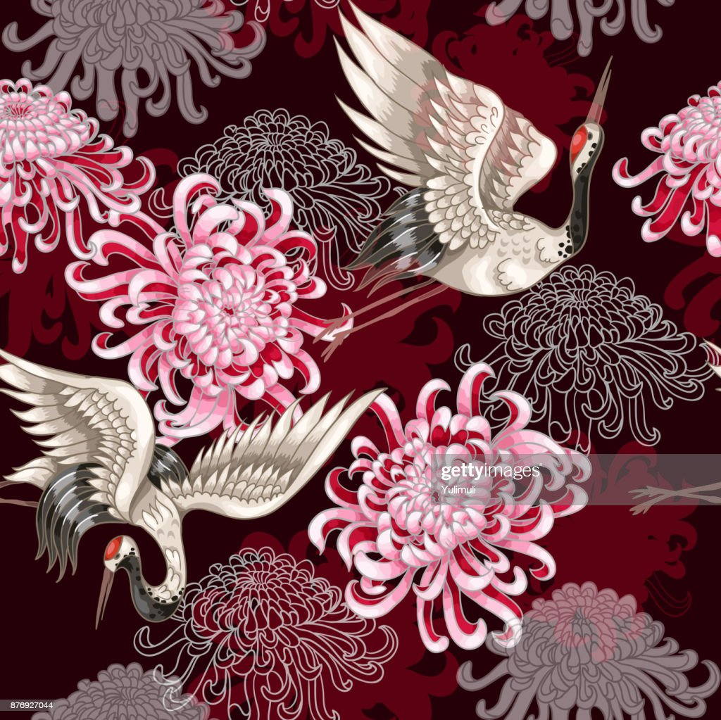 Seamless pattern with Japanese white cranes and chrysanthemums on a claret background for textile design