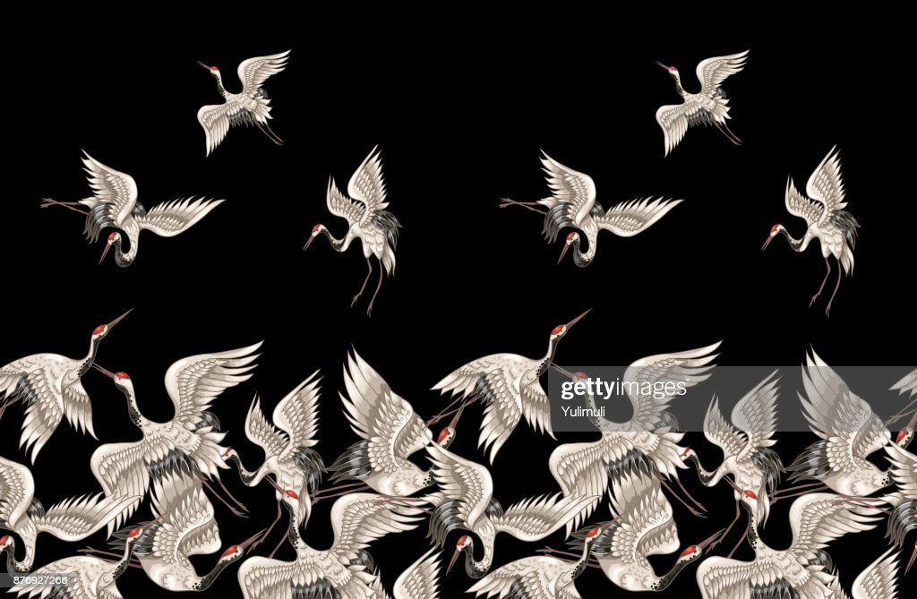 Seamless pattern with Japanese white cranes in different poses for your design (embroidery, textiles, printing)