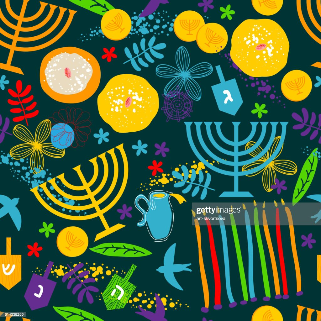Seamless pattern with Jewish holiday Hanukkah symbols